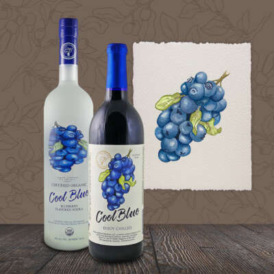 Cool Blue Wine and Vodka